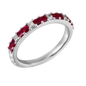 Ruby Gemstone 14K White Gold Diamond Band Jewelry